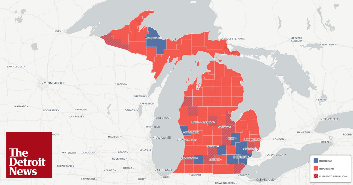 Trump Wins Most Counties In Michigan An Interactive Map - Us map of trump county wins