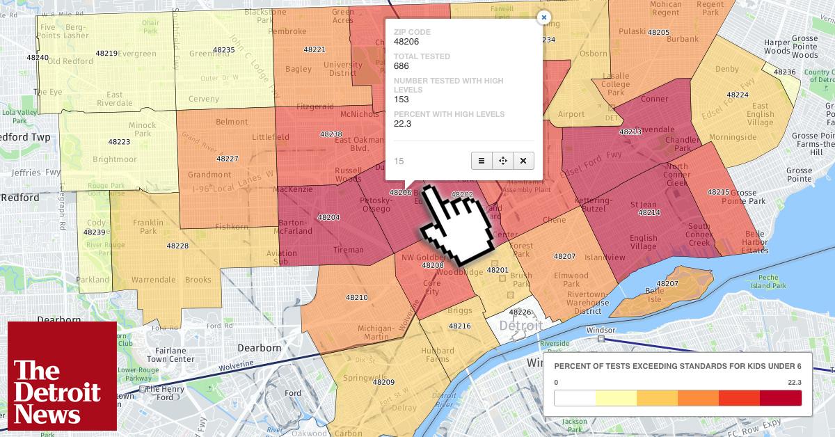 48201 Zip Code Map.Lead Levels In Detroit Children By Zip Code In 2016 The Detroit News