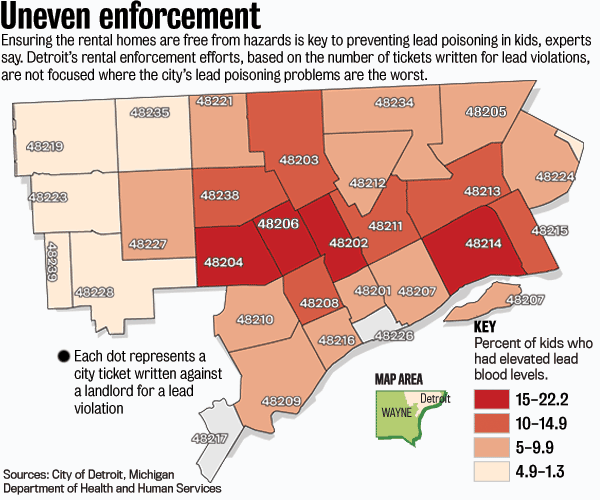 48201 Zip Code Map.Rental Enforcement Lags In Detroit S Lead Hot Spots